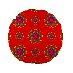 Rainbow Colors Geometric Circles Seamless Pattern On Red Background Standard 15  Premium Round Cushions