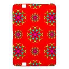 Rainbow Colors Geometric Circles Seamless Pattern On Red Background Kindle Fire Hd 8 9