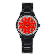 Rainbow Colors Geometric Circles Seamless Pattern On Red Background Stainless Steel Round Watch