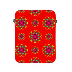 Rainbow Colors Geometric Circles Seamless Pattern On Red Background Apple Ipad 2/3/4 Protective Soft Cases