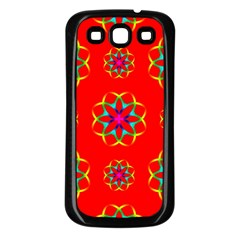 Rainbow Colors Geometric Circles Seamless Pattern On Red Background Samsung Galaxy S3 Back Case (Black)