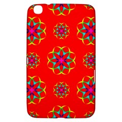 Rainbow Colors Geometric Circles Seamless Pattern On Red Background Samsung Galaxy Tab 3 (8 ) T3100 Hardshell Case