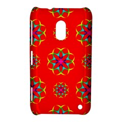 Rainbow Colors Geometric Circles Seamless Pattern On Red Background Nokia Lumia 620