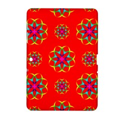 Rainbow Colors Geometric Circles Seamless Pattern On Red Background Samsung Galaxy Tab 2 (10.1 ) P5100 Hardshell Case