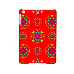 Rainbow Colors Geometric Circles Seamless Pattern On Red Background Ipad Mini 2 Hardshell Cases