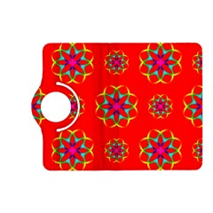 Rainbow Colors Geometric Circles Seamless Pattern On Red Background Kindle Fire Hd (2013) Flip 360 Case