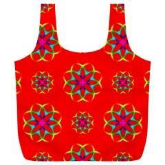 Rainbow Colors Geometric Circles Seamless Pattern On Red Background Full Print Recycle Bags (L)