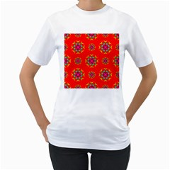 Rainbow Colors Geometric Circles Seamless Pattern On Red Background Women s T-Shirt (White)