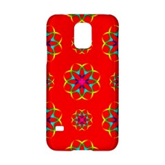 Rainbow Colors Geometric Circles Seamless Pattern On Red Background Samsung Galaxy S5 Hardshell Case