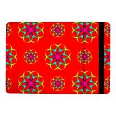 Rainbow Colors Geometric Circles Seamless Pattern On Red Background Samsung Galaxy Tab Pro 10 1  Flip Case