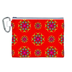Rainbow Colors Geometric Circles Seamless Pattern On Red Background Canvas Cosmetic Bag (L)