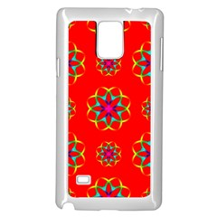 Rainbow Colors Geometric Circles Seamless Pattern On Red Background Samsung Galaxy Note 4 Case (White)