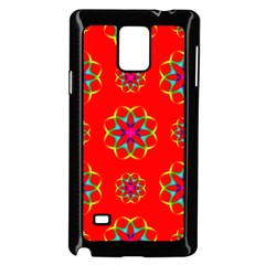 Rainbow Colors Geometric Circles Seamless Pattern On Red Background Samsung Galaxy Note 4 Case (black)