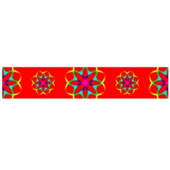 Rainbow Colors Geometric Circles Seamless Pattern On Red Background Flano Scarf (large)