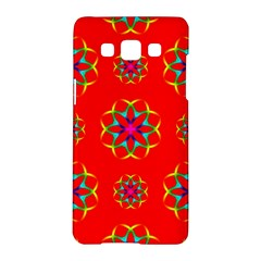 Rainbow Colors Geometric Circles Seamless Pattern On Red Background Samsung Galaxy A5 Hardshell Case