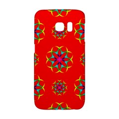 Rainbow Colors Geometric Circles Seamless Pattern On Red Background Galaxy S6 Edge