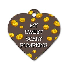 Hallowen My Sweet Scary Pumkins Dog Tag Heart (One Side)