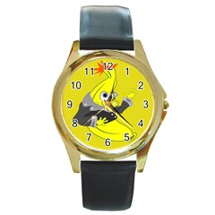 Funny Cartoon Punk Banana Illustration Round Gold Metal Watch