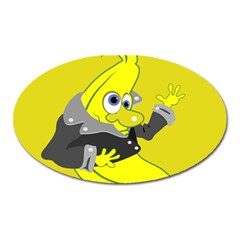 Funny Cartoon Punk Banana Illustration Oval Magnet