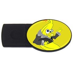 Funny Cartoon Punk Banana Illustration USB Flash Drive Oval (2 GB)