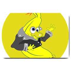 Funny Cartoon Punk Banana Illustration Large Doormat