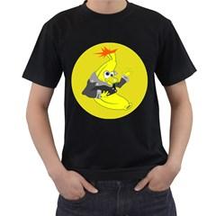 Funny Cartoon Punk Banana Illustration Men s T Shirt (black)