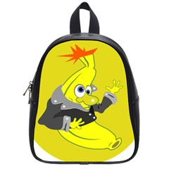 Funny Cartoon Punk Banana Illustration School Bags (Small)