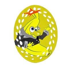 Funny Cartoon Punk Banana Illustration Oval Filigree Ornament (two Sides)