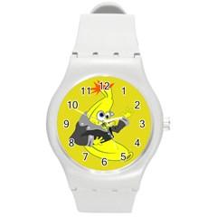 Funny Cartoon Punk Banana Illustration Round Plastic Sport Watch (m)