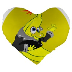 Funny Cartoon Punk Banana Illustration Large 19  Premium Heart Shape Cushions