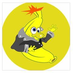 Funny Cartoon Punk Banana Illustration Large Satin Scarf (square)