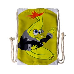 Funny Cartoon Punk Banana Illustration Drawstring Bag (small)