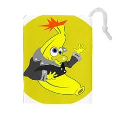 Funny Cartoon Punk Banana Illustration Drawstring Pouches (extra Large)