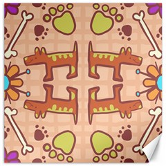 Pet Dog Design  Tileable Doodle Dog Art Canvas 12  X 12