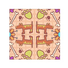 Pet Dog Design  Tileable Doodle Dog Art Small Satin Scarf (Square)