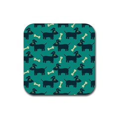 Happy Dogs Animals Pattern Rubber Square Coaster (4 Pack)