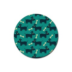 Happy Dogs Animals Pattern Rubber Round Coaster (4 Pack)