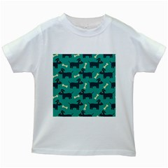 Happy Dogs Animals Pattern Kids White T Shirts