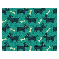 Happy Dogs Animals Pattern Rectangular Jigsaw Puzzl