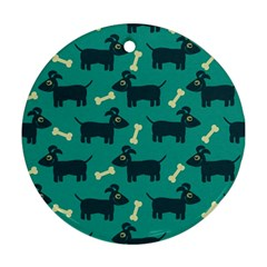 Happy Dogs Animals Pattern Round Ornament (Two Sides)