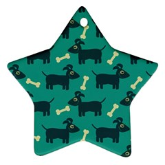 Happy Dogs Animals Pattern Star Ornament (two Sides)