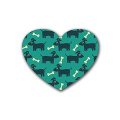 Happy Dogs Animals Pattern Heart Coaster (4 Pack)