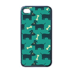 Happy Dogs Animals Pattern Apple iPhone 4 Case (Black)