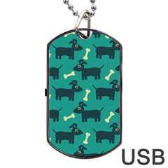 Happy Dogs Animals Pattern Dog Tag USB Flash (One Side)