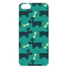 Happy Dogs Animals Pattern Apple iPhone 5 Seamless Case (White)
