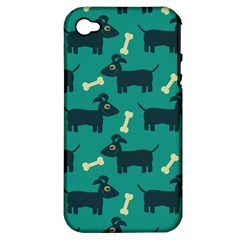 Happy Dogs Animals Pattern Apple iPhone 4/4S Hardshell Case (PC+Silicone)