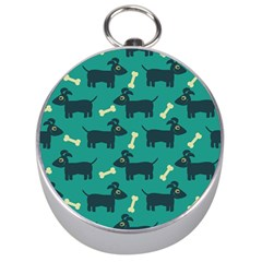 Happy Dogs Animals Pattern Silver Compasses
