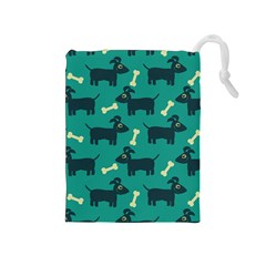 Happy Dogs Animals Pattern Drawstring Pouches (medium)