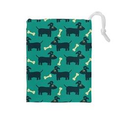 Happy Dogs Animals Pattern Drawstring Pouches (large)