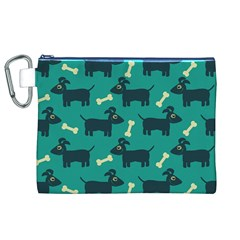 Happy Dogs Animals Pattern Canvas Cosmetic Bag (XL)